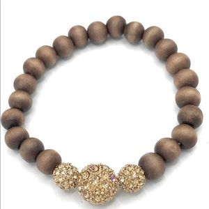 Stella&Dot pave gold & wood beads bracelet